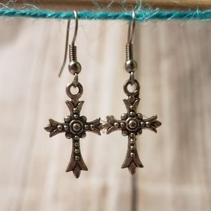 Cute rustic cross earrings